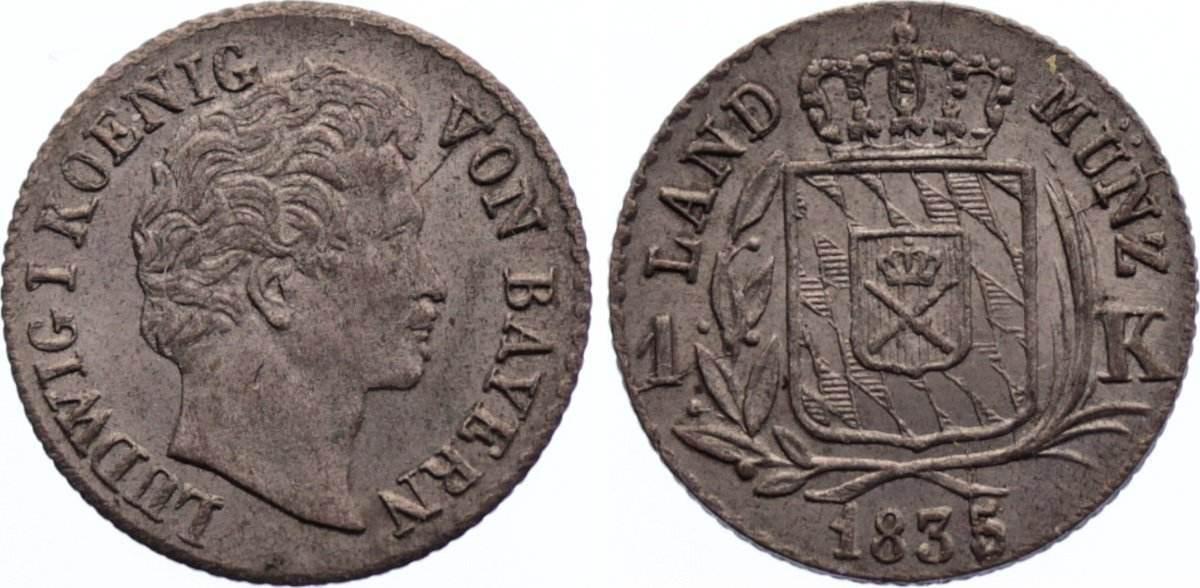 Kreuzer 1835 Bayern Ludwig I. 1825-1848. fast vorzüglich / vorzüglich