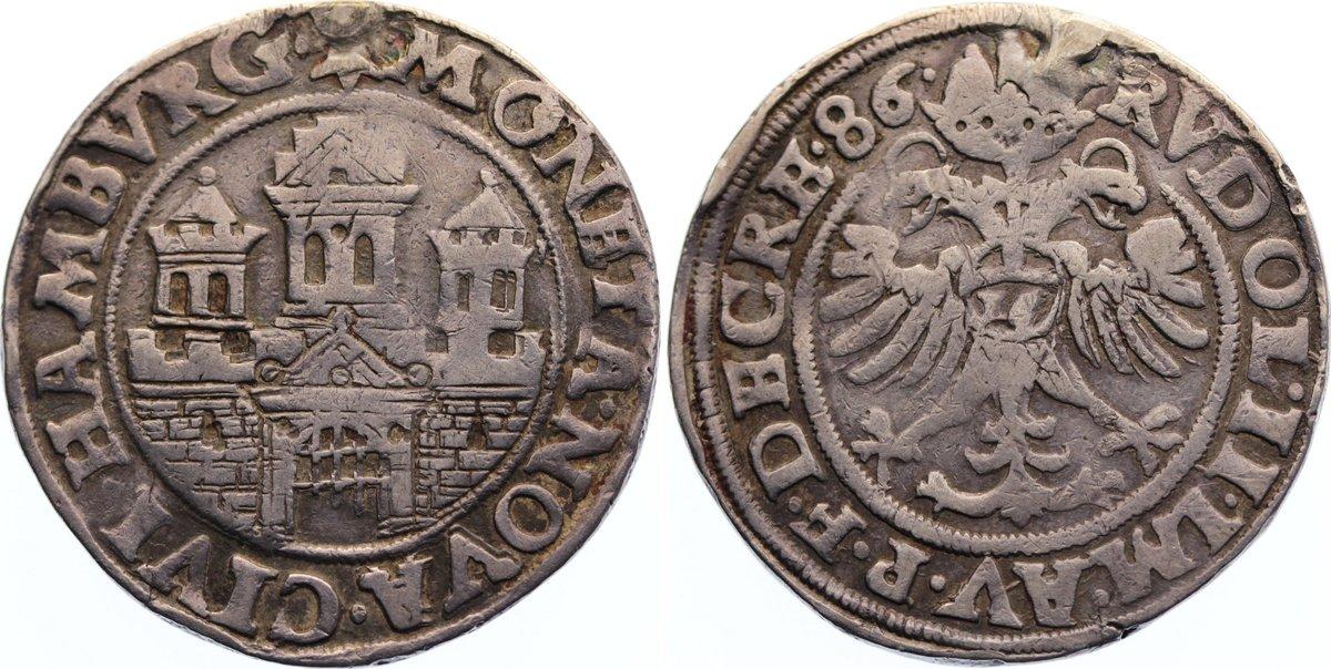 1/2 Taler zu 16 Schilling 1586 Hamburg, Stadt selten, Henkelspur, sehr schön