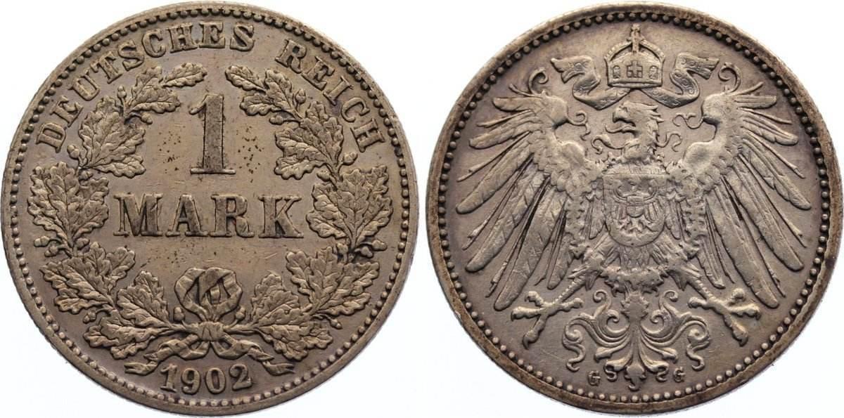 1 Mark 1902 G Kleinmünzen sehr schön