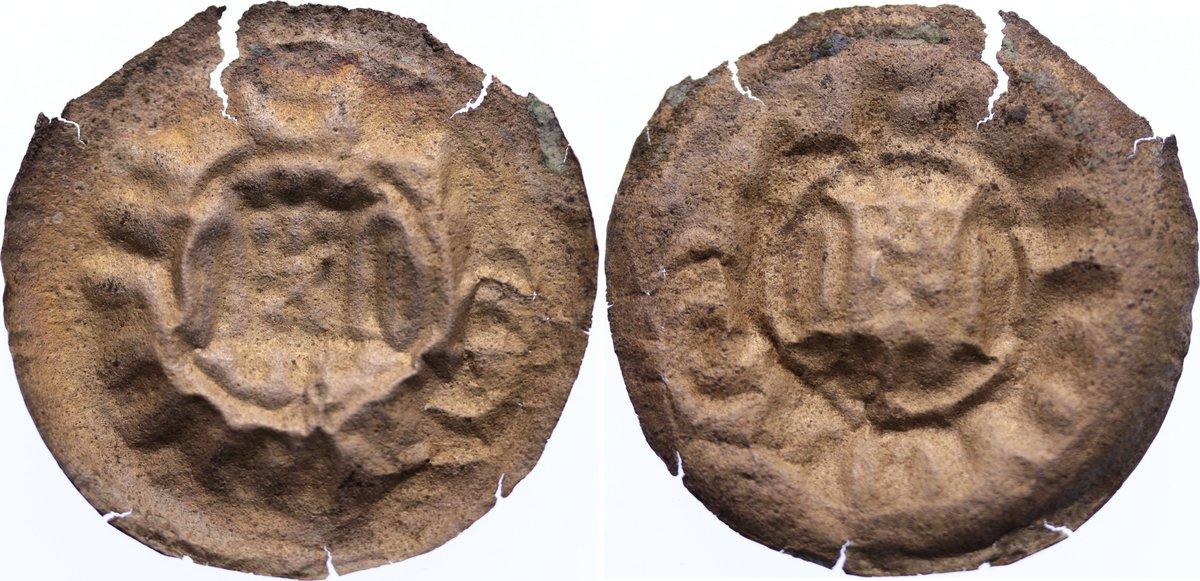 Brakteat 1221-1288 Meißen, markgräflich wettinische Münzstätte Heinrich der Erlauchte 1221-1288. Randfehler, leicht gedrückt, fast sehr schön