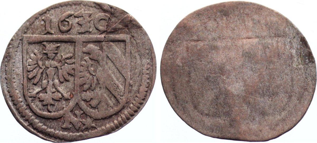 Einseitiger Pfennig 1630 Nürnberg, Stadt Schrötlingsfehler, sehr schön