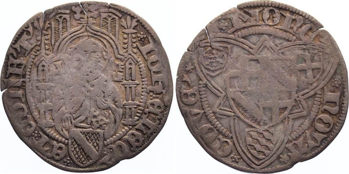 Weißpfennig 1456-1503 Trier, Erzbistum Johann II. von Baden 1456-1503. Einrisse, fast sehr schön