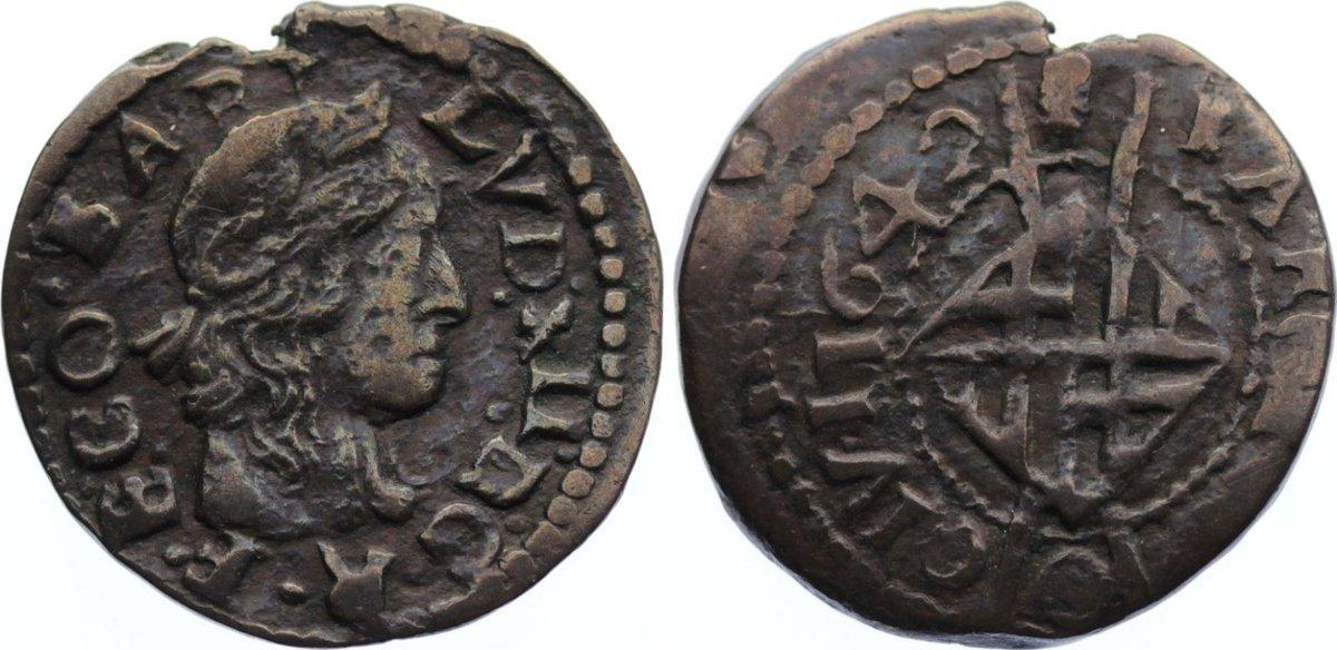 Sizain 1642 Spanien-Katalonien Ludwig XIII. 1640-1643. Randfehler, fast sehr schön