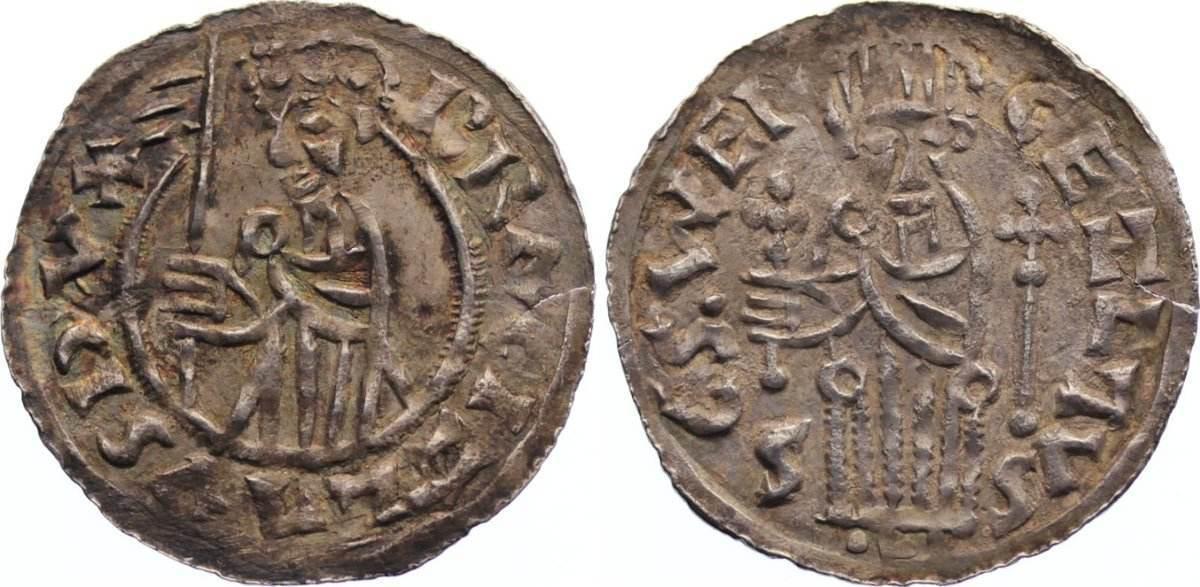 Denar 1037-1055 Böhmen Bretislaw I. 1037-1055, 1028-1034 Teilfürst von Mähren. min. Einriß, fast vorzüglich