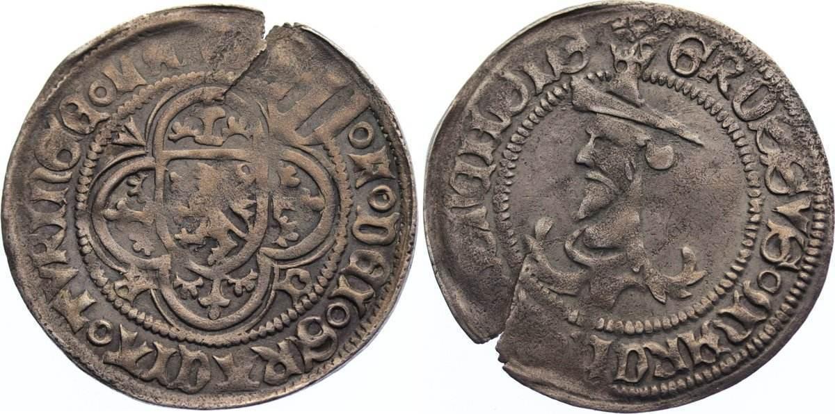 Judenkopfgroschen 1428-1464 Sachsen-Markgrafschaft Meißen Kurfürst Friedrich II. der Sanftmütige von Sachsen 1428-1464. Einriß, sehr schön