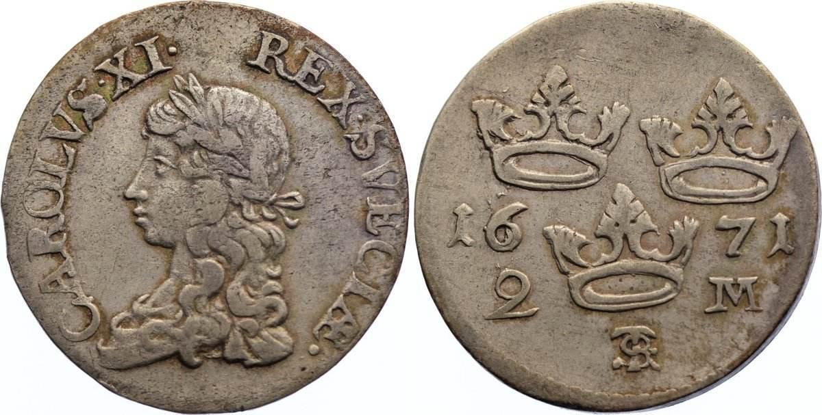 2 Mark 1671 Schweden Karl XI. 1660-1697. sehr schön