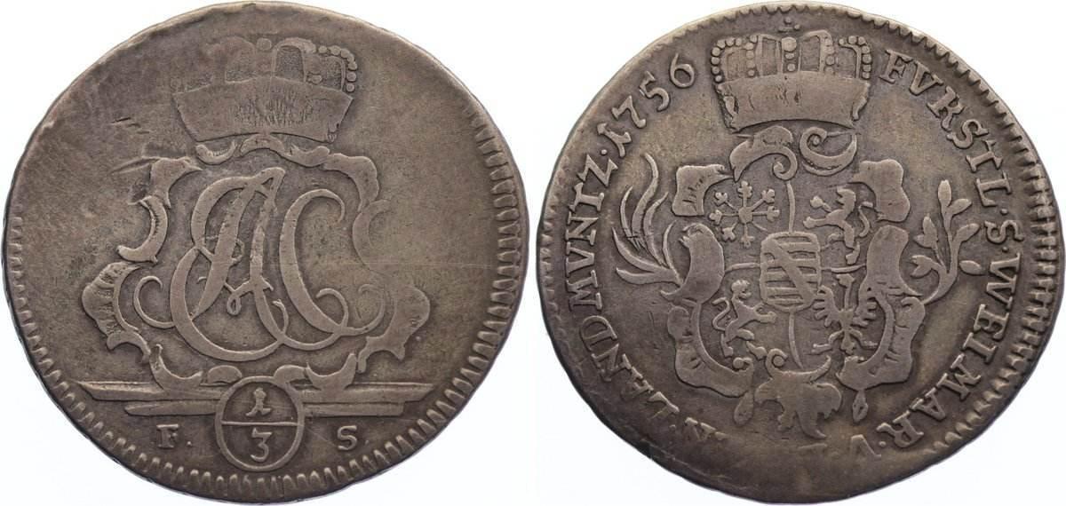 1/3 Taler 1756 FS Sachsen-Weimar-Eisenach Ernst August Constantin 1756-1758. selten, fast sehr schön