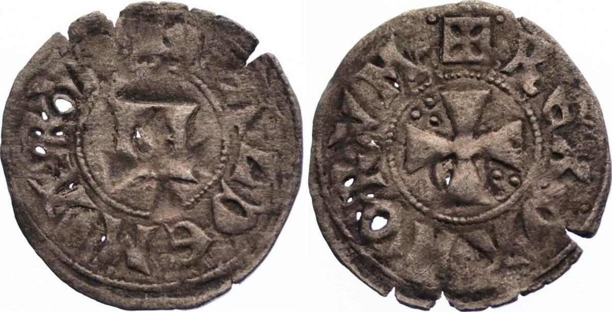 Denar 1202-1241 Dänemark Waldemar II. 1202-1241. Einriße und kl. Löcher, fast sehr schön