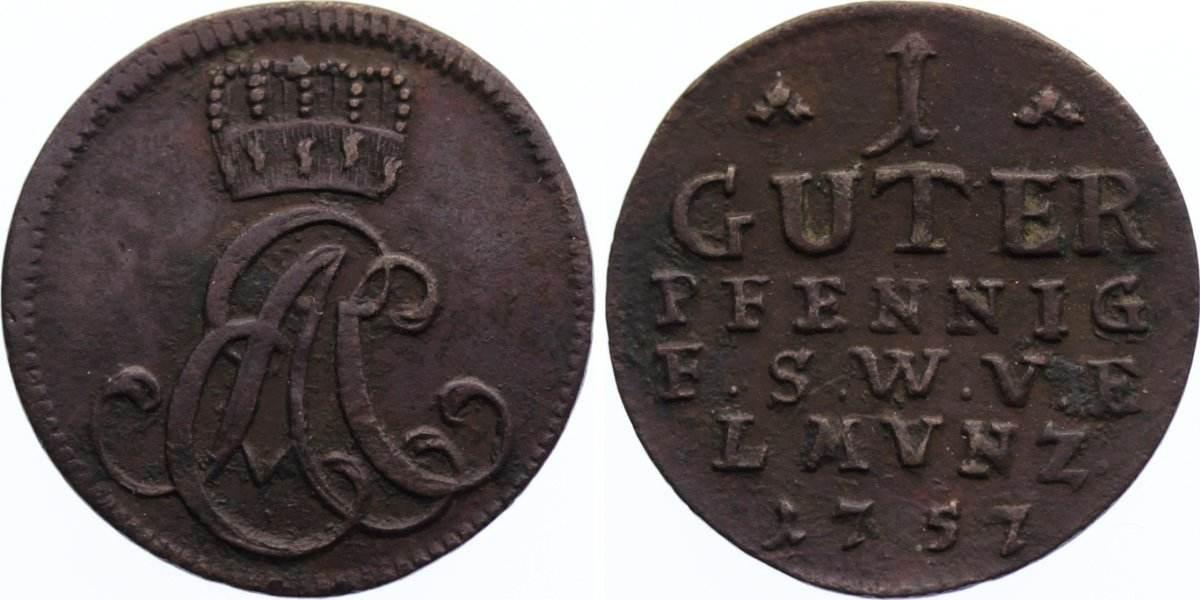 Cu Guter Pfennig 1757 Sachsen-Weimar-Eisenach Ernst August Constantin 1756-1758. leichter Belag, sehr schön +