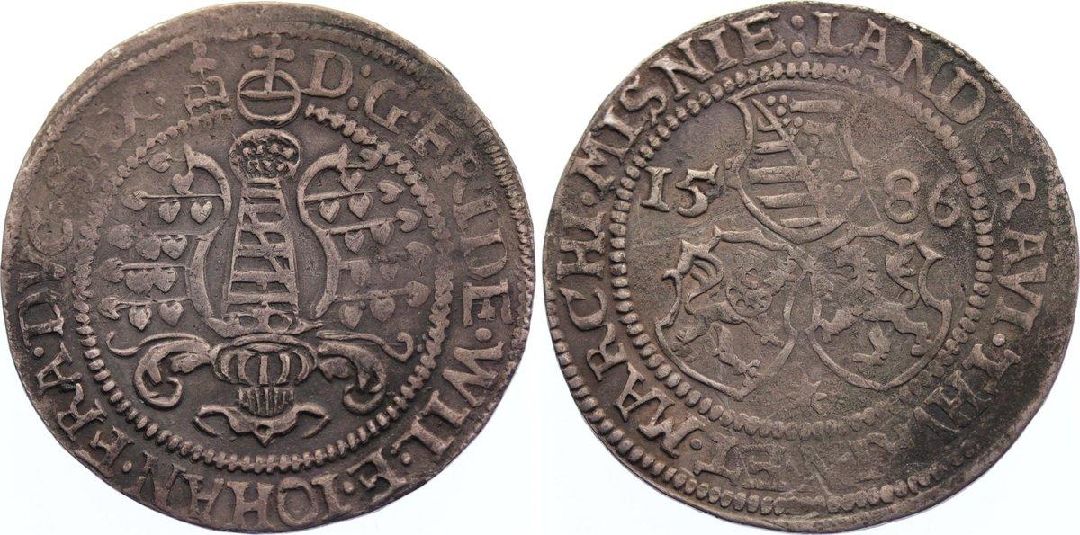 1/4 Taler 1586 Sachsen-Alt-Weimar Friedrich Wilhelm und Johann 1573-1602. Prägeschwäche, sehr schön
