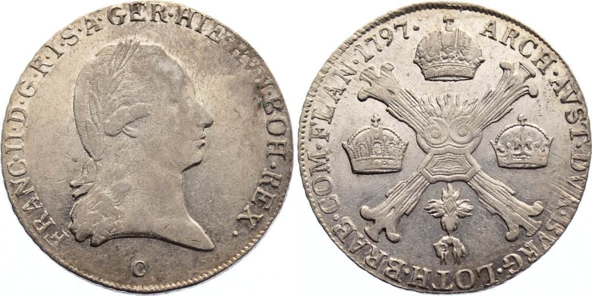 1/4 Kronentaler 1797 C Haus Habsburg Franz II. (I.) 1792-1835. sehr schön / fast vorzüglich