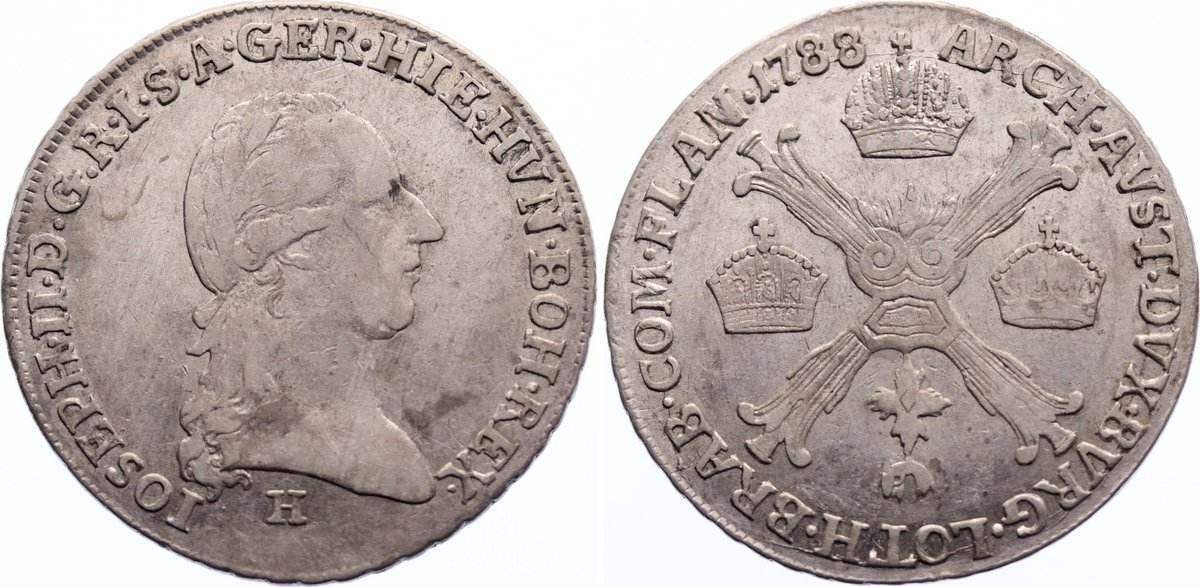 1/4 Kronentaler 1788 H Haus Habsburg Josef II. 1780-1790. sehr schön / sehr schön-vorzüglich