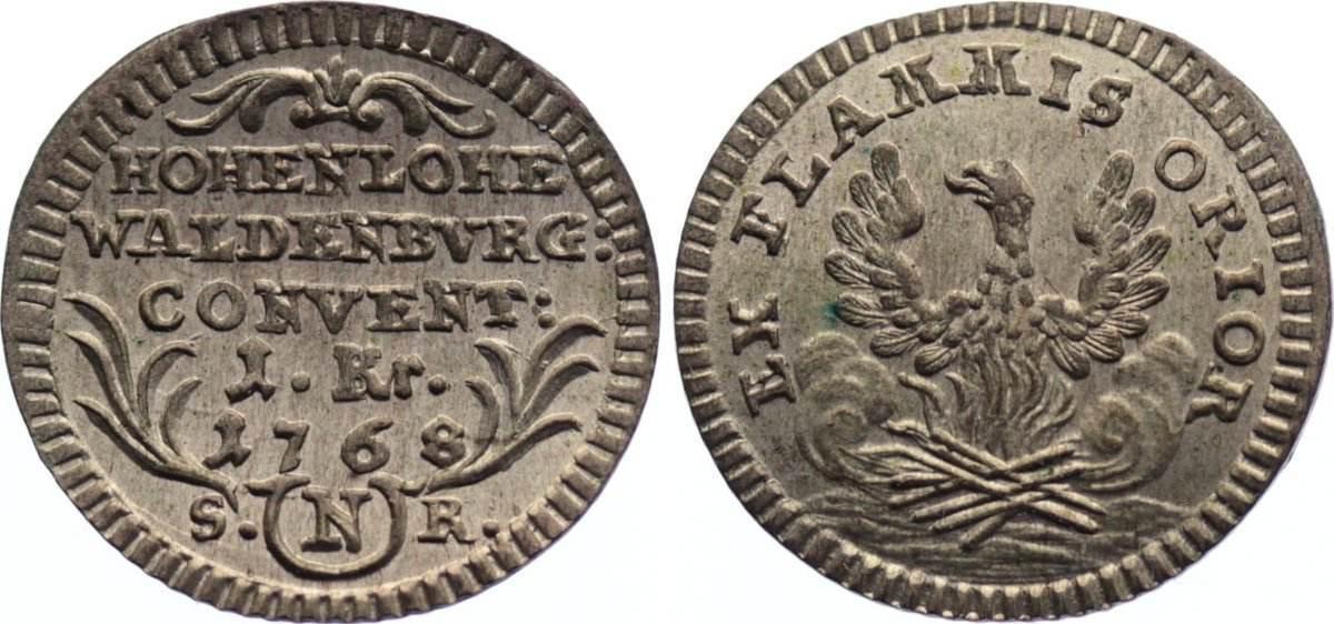 Kreuzer 1768 Hohenlohe-Waldenburg-Schillingsfürst Karl Albrecht 1753-1793. vorzüglich - Stempelglanz