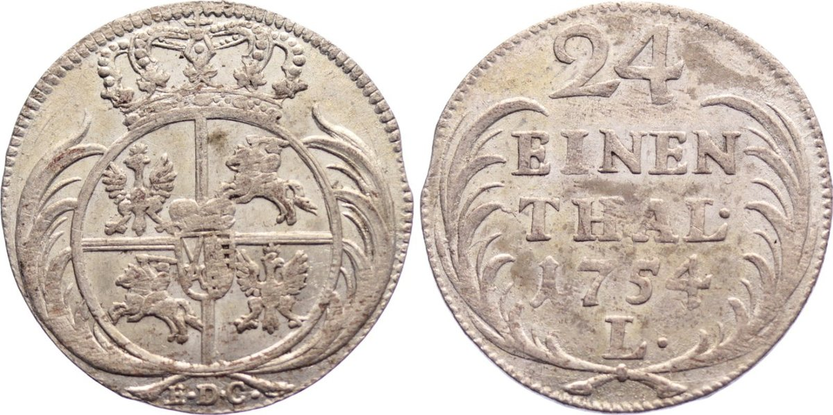 1/24 Taler 1754 Sachsen-Albertinische Linie Friedrich August II. 1733-1763. kl. Prägeschwäche, fast vorzüglich
