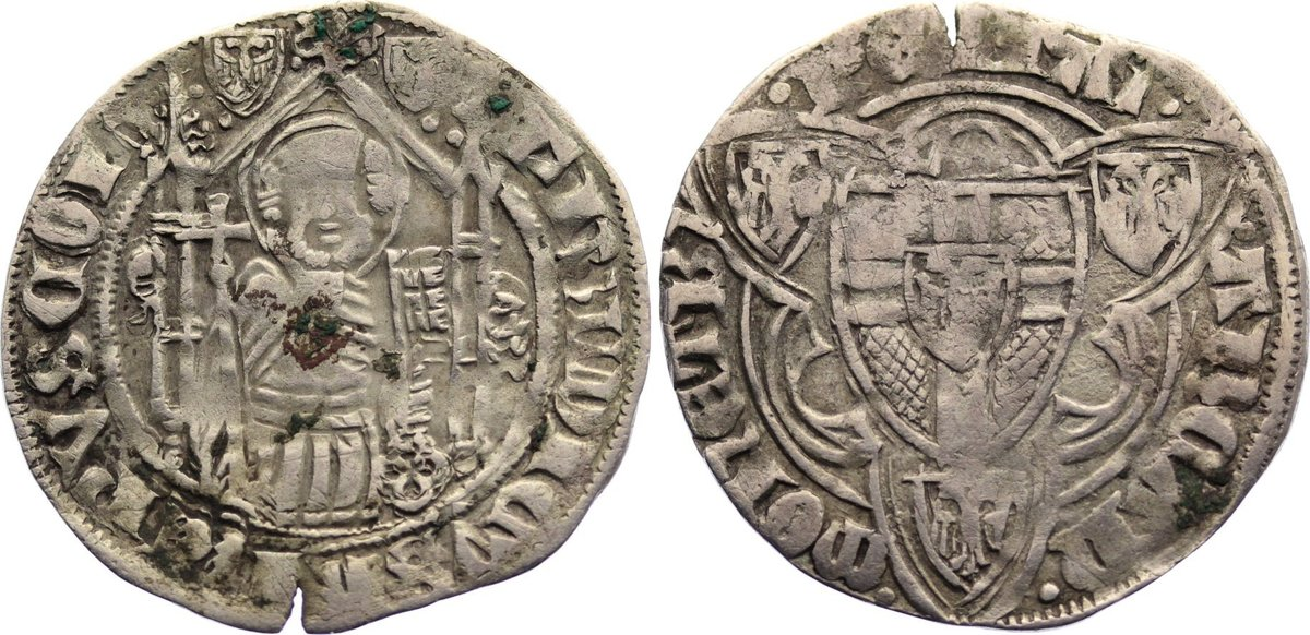 Weißpfennig 1371-1414 Köln, Erzbistum Friedrich II. von Saarwerden 1371-1414. kl. Einriß, fast sehr schön
