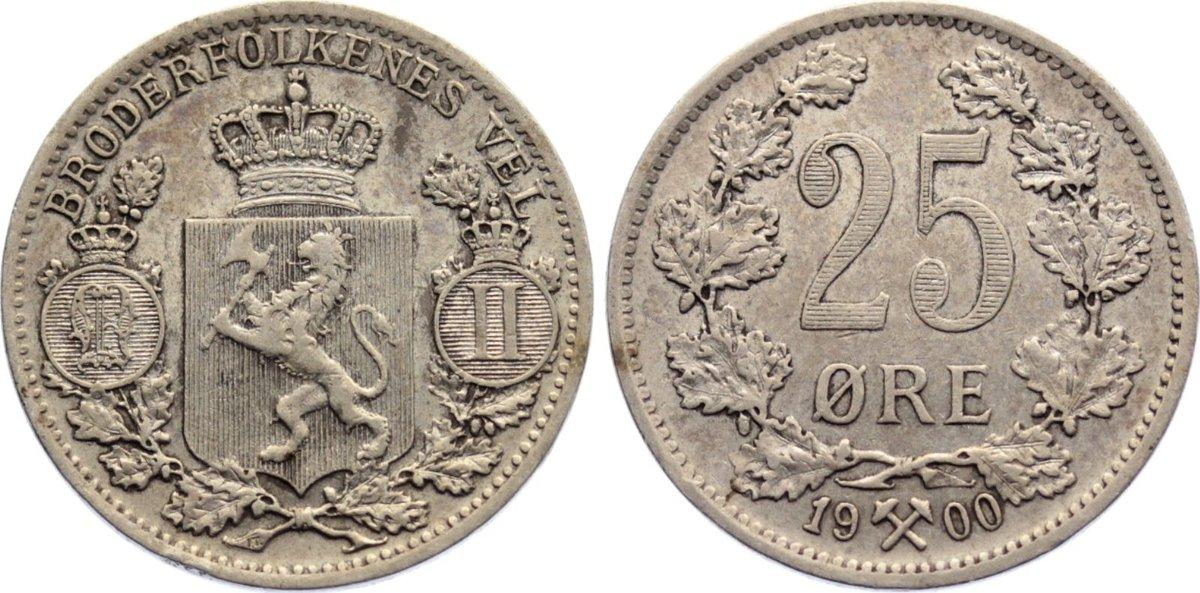 25 Öre 1 1900 Norwegen Oskar II. 1872-1905. sehr schön