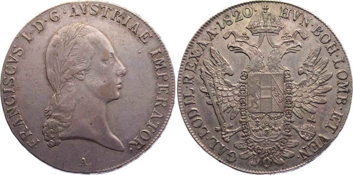 Taler 1820 A Haus Habsburg Franz II. (I.) 1792-1835. sehr schön / sehr schön+