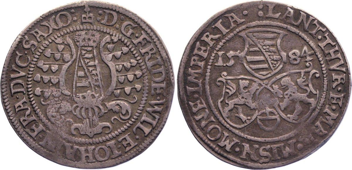 1/4 Taler 1584 Sachsen-Alt-Weimar Friedrich Wilhelm und Johann 1573-1602. min. Schrötlingsfehler, sehr schön