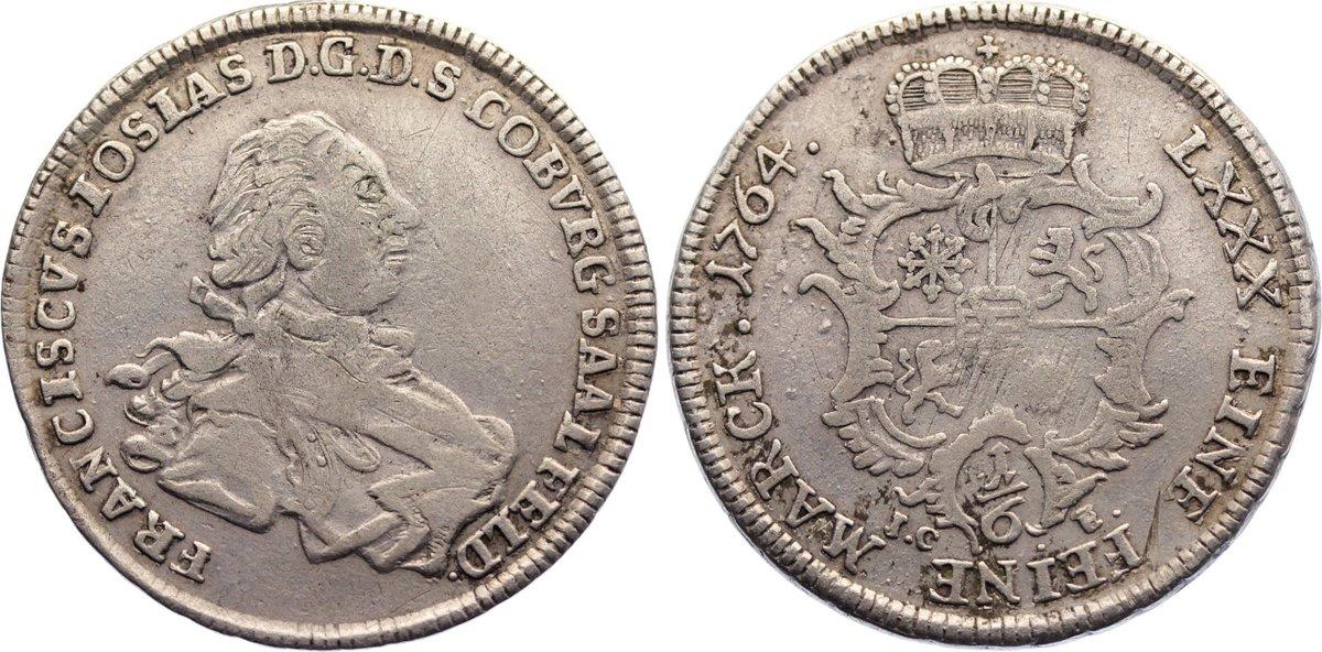 1/6 Taler 1764 Sachsen-Coburg-Saalfeld Franz Josias 1745-1764. leicht justiert, knapp sehr schön