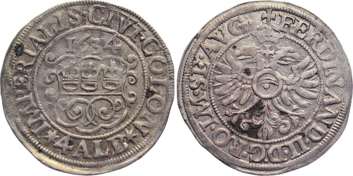 4 Albus 1634 Köln, Stadt kl. Belagreste, sehr schön - vorzüglich