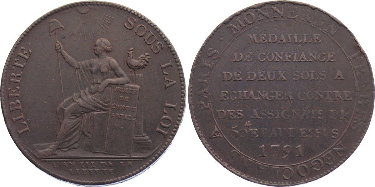2 Sols 1791 Frankreich Ludwig XVI. 1774-1793. sehr schön