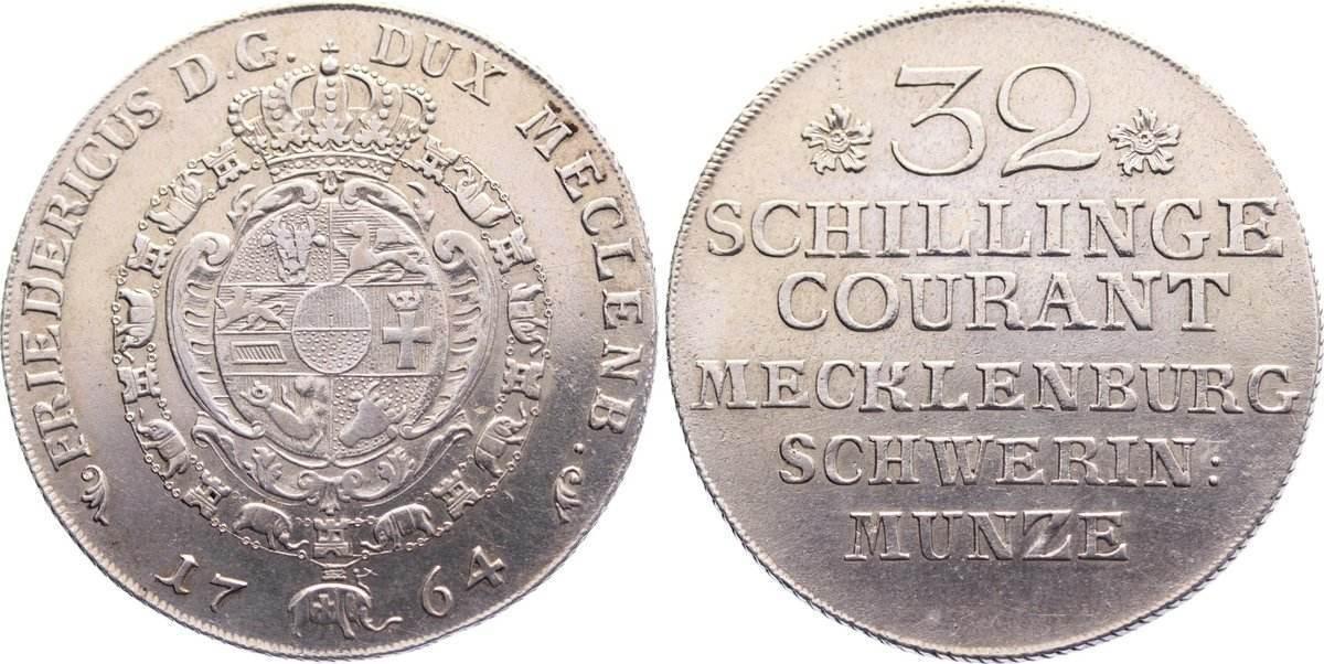 32 Schilling 1764 Mecklenburg-Schwerin Friedrich 1756-1785. sehr schön - vorzüglich
