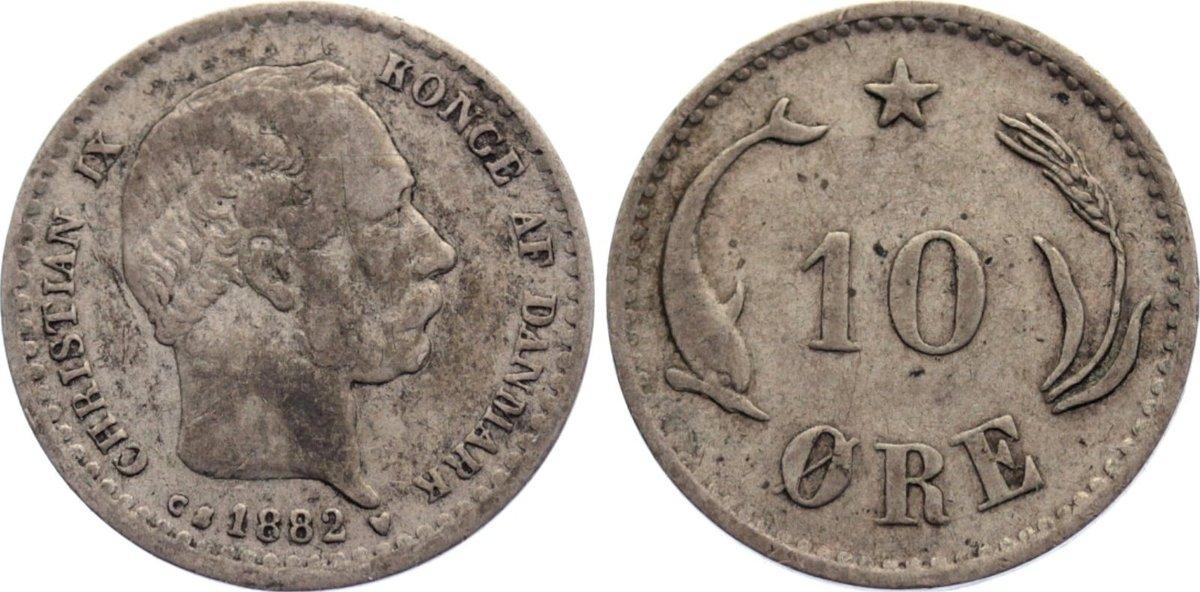 10 Öre 1 1882 CS Dänemark Christian IX. 1863-1906. selten, schön / fast sehr schön