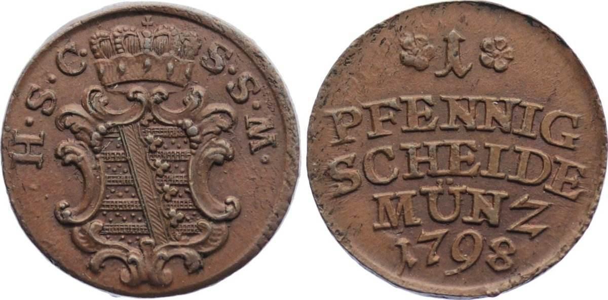 Cu Pfennig 1798 Sachsen-Coburg-Saalfeld Ernst Friedrich 1764-1800. vorzüglich