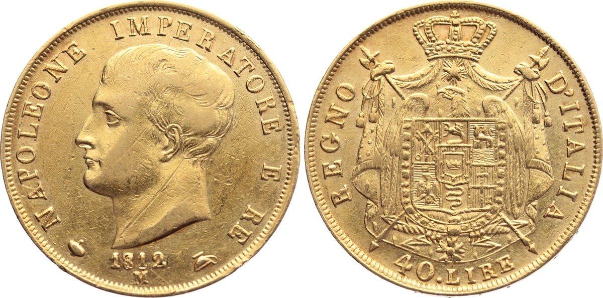 40 Lire 1812 M Italien-Königreich (unter Napoleon) Napoleon I. 1804-1814. Gold, kl. Randfehler, Kratzer, sehr schön