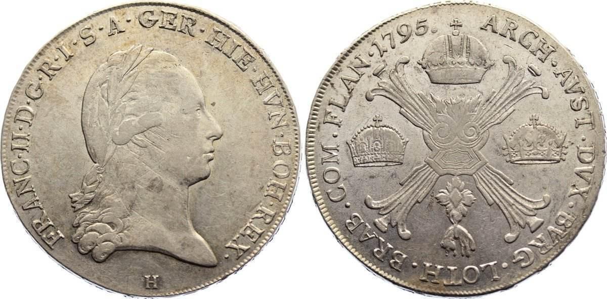 Kronentaler 1795 H Haus Habsburg Franz II. (I.) 1792-1835. sehr schön - vorzüglich