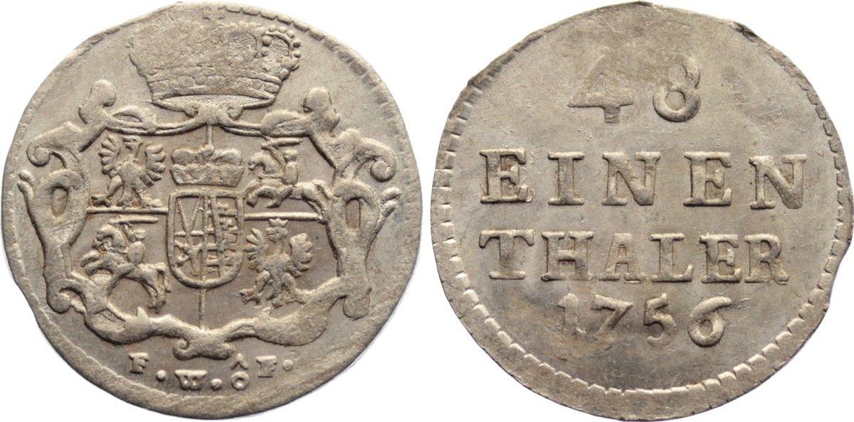 1/48 Taler 1756 FW Sachsen-Albertinische Linie Friedrich August II. 1733-1763. kl. Schrötlingsfehler, vorzüglich - prägefrisch
