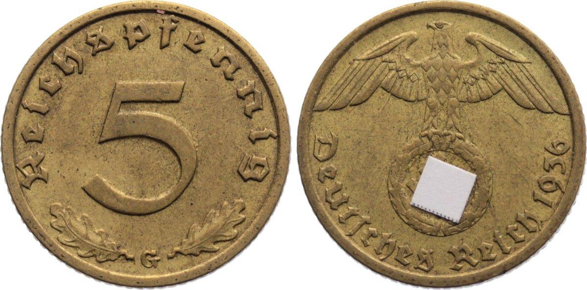 5 Reichspfennig 1936 G Drittes Reich Kursmünzen 1933-1945. sehr schön