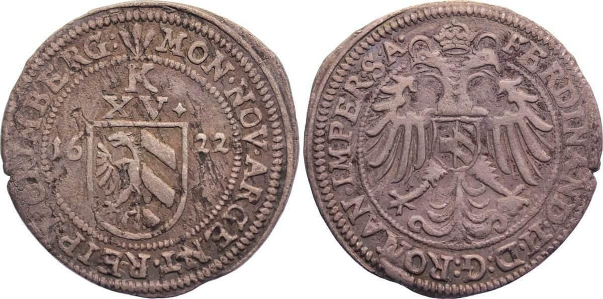 Kipper 15 Kreuzer 1622 Nürnberg, Stadt kl. Schrötlingsfehler, sehr schön