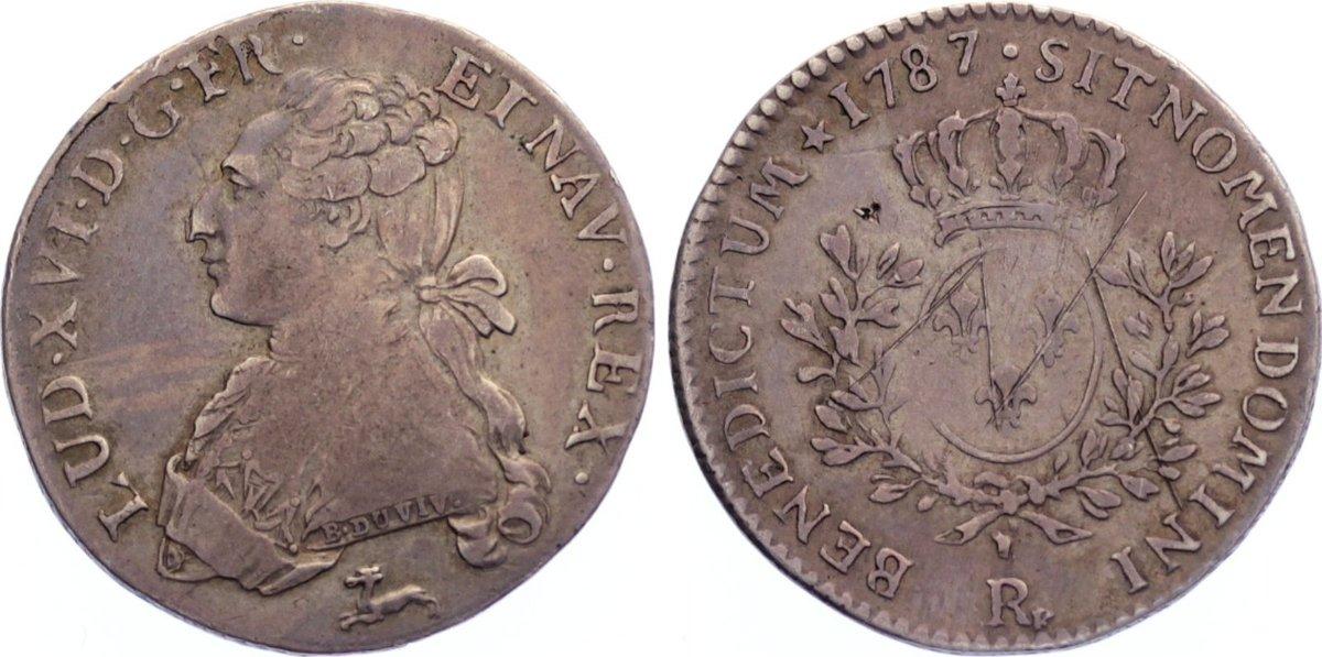 1/5 Écu 1 1787 R Frankreich Ludwig XVI. 1774-1793. Kratzer, sehr schön