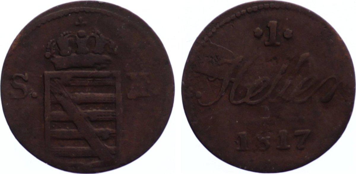 Cu Heller 1817 Sachsen-Hildburghausen Friedrich 1784-1826. Jahrgang selten, fast sehr schön