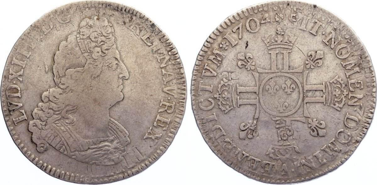 1/2 Ecu aux 8L 1704 A Frankreich Ludwig XIV. 1643-1715. fast sehr schön