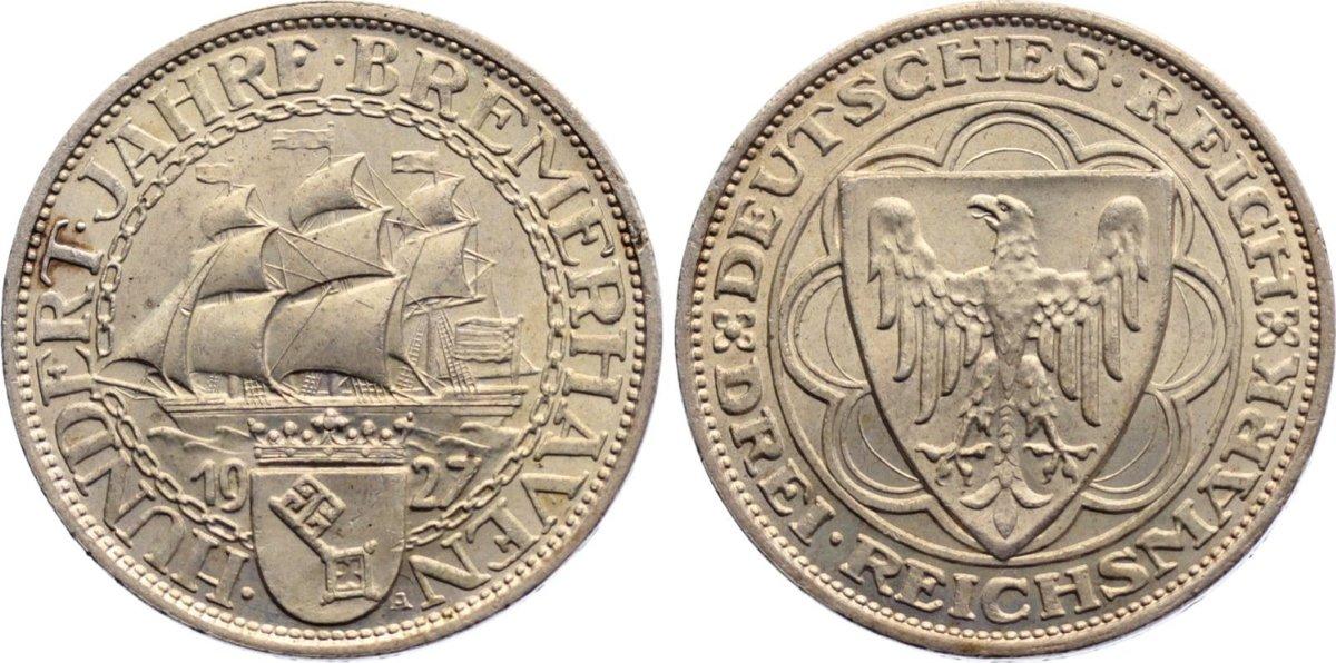 3 Reichsmark 1927 A Weimarer Republik Gedenkmünzen 1918-1933. vorzüglich - Stempelglanz