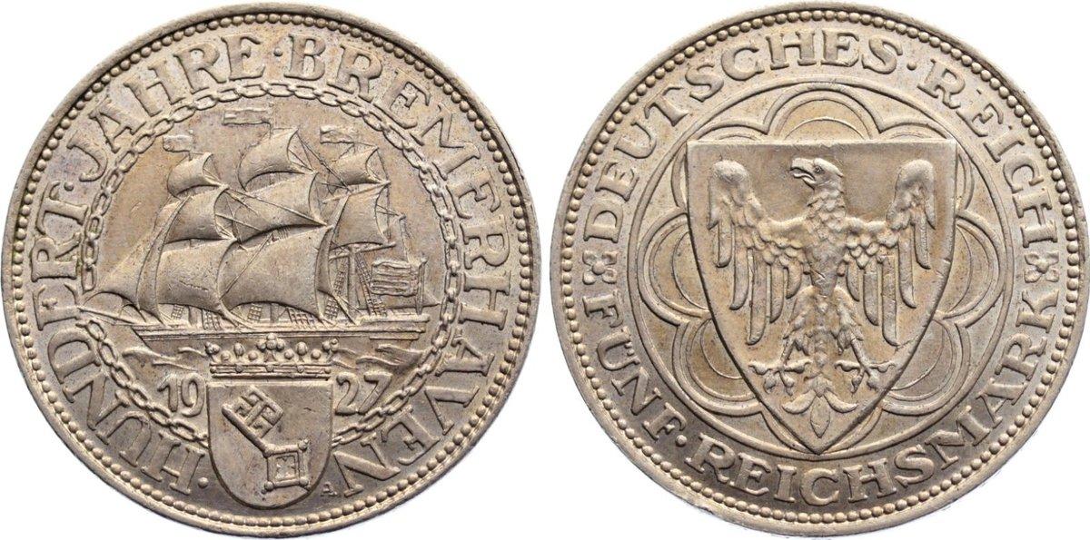 5 Reichsmark 1927 A Weimarer Republik Gedenkmünzen 1918-1933. kl. Kratzer, vorzüglich - Stempelglanz