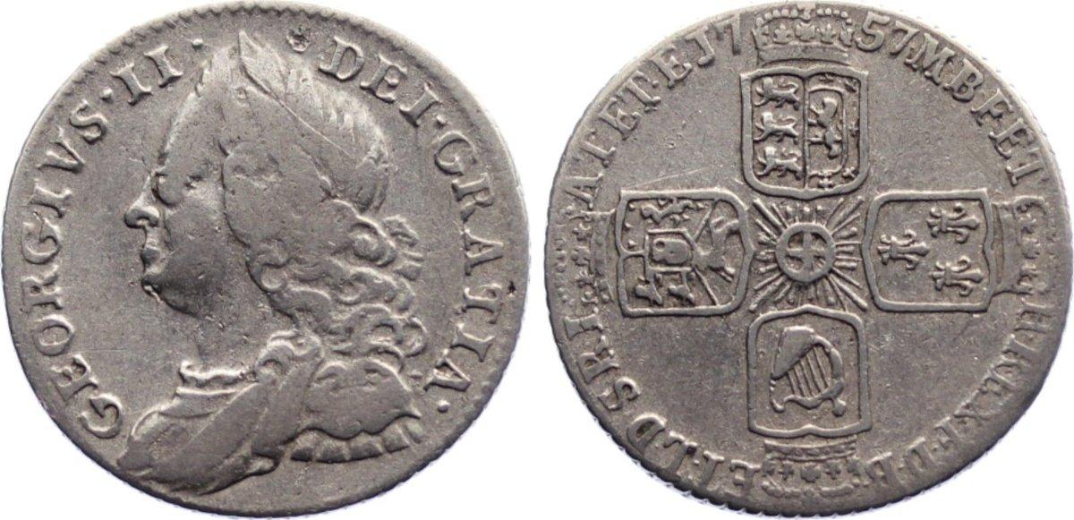 Sixpence 1757 Großbritannien George II. 1727-1760. kl. Kratzer, sehr schön