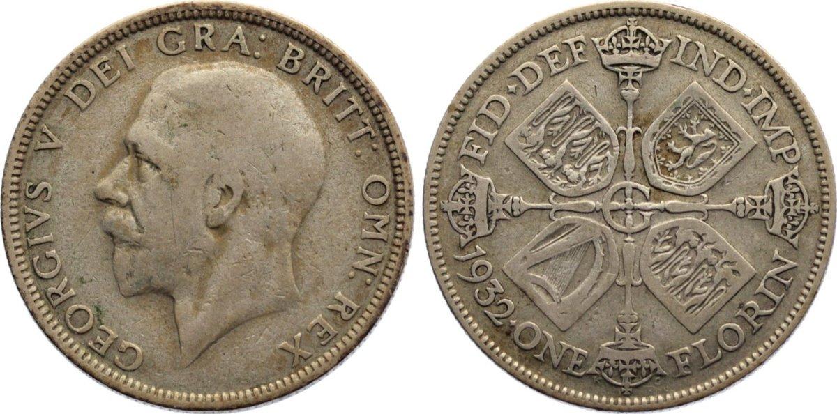 Florin 1932 Großbritannien George V. 1910-1936. selten, fast sehr schön / sehr schön