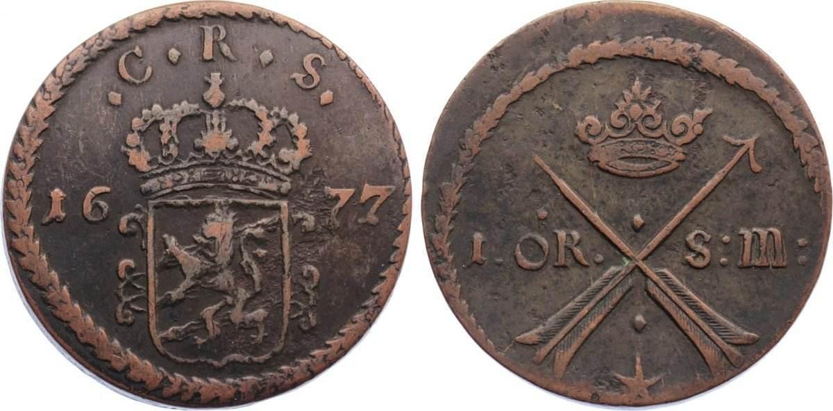 Cu Öre 1 1677 Schweden Karl XI. 1660-1697. kl. Schrötlingsfehler, knapp sehr schön