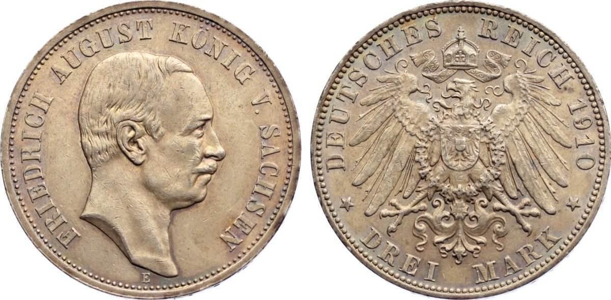 3 Mark 1910 E Sachsen Friedrich August III. 1904-1918. kl. Kratzer, fast vorzüglich