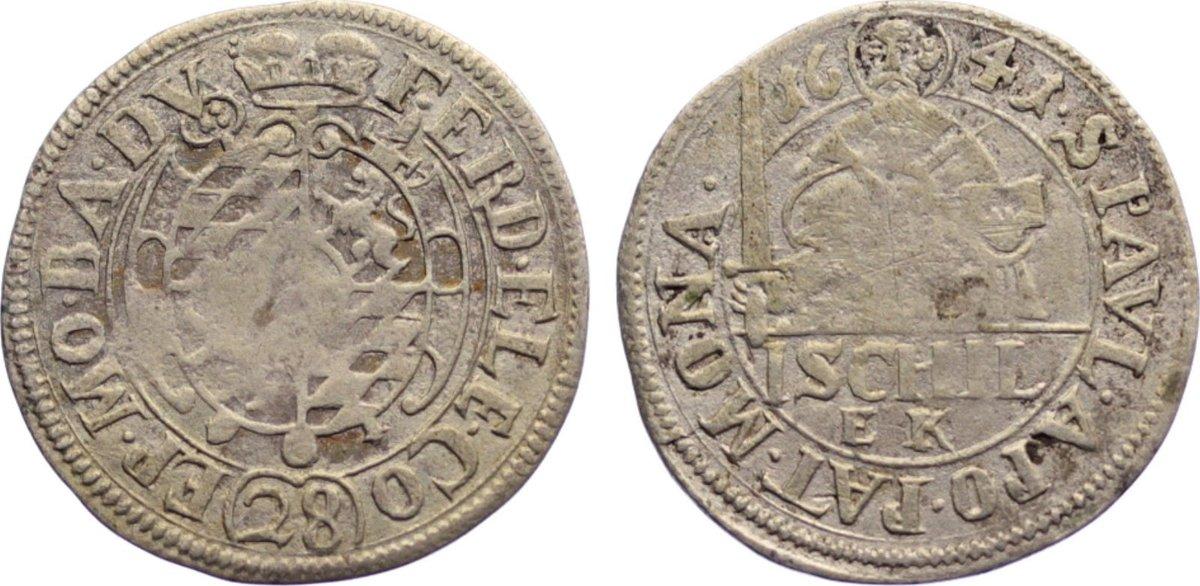 Schilling (1/28 Taler) 1641 Münster, Bistum Ferdinand von Bayern 1611-1650. kl. Prägeschwäche, sehr schön
