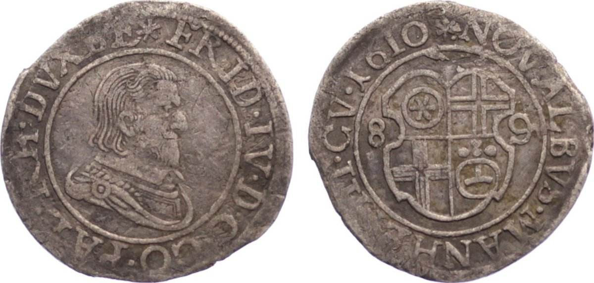 Münzvereins Albus zu 8 Pfennigen 1 1610 Pfalz, Kurlinie Friedrich IV. 1592-1610. Randfehler, sehr schön