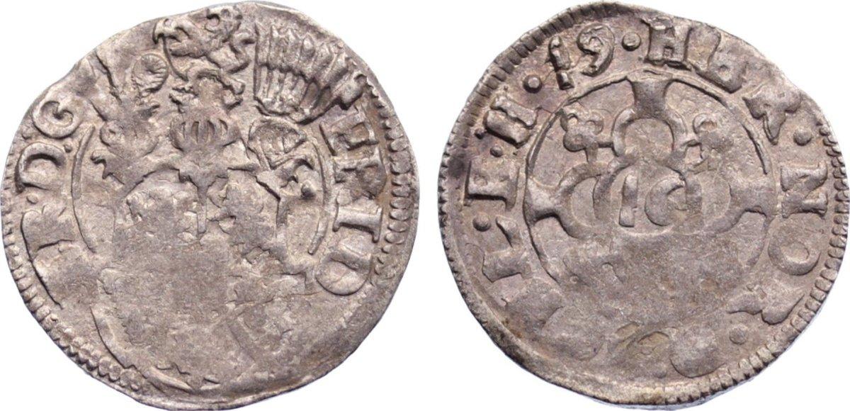 1/16 Taler (Doppelschilling) 1619 Schleswig-Holstein-Gottorp Friedrich III. 1616-1659. Prägeschwäche, sehr schön