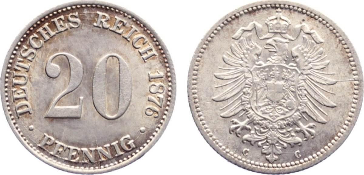 20 Pfennig 1876 C Kleinmünzen vorzüglich - Stempelglanz