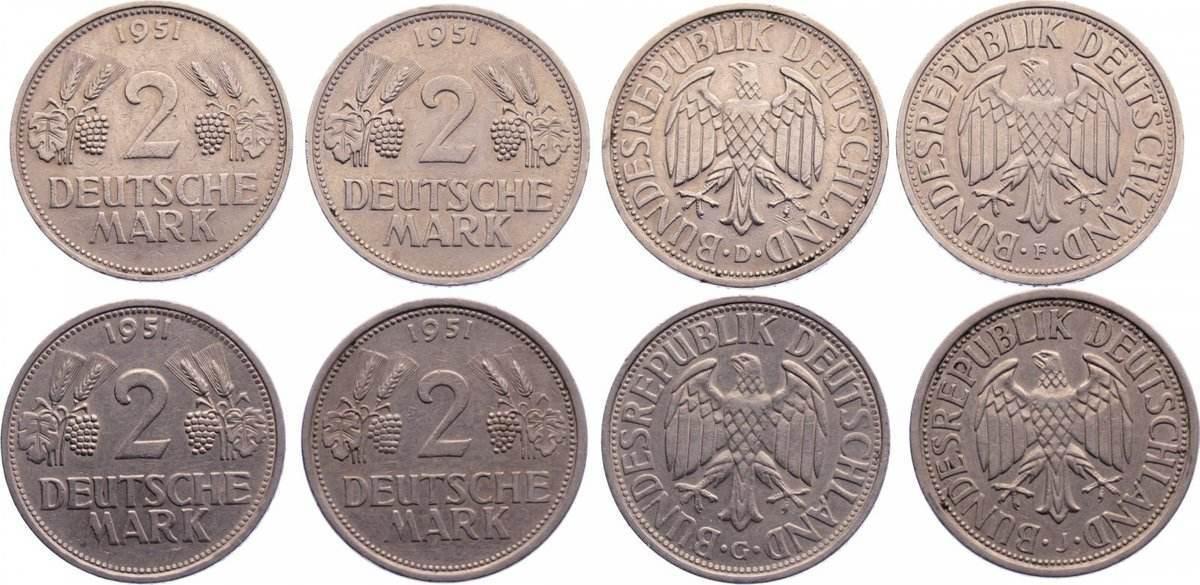 2 Mark 1951 D Kursmünzen Set mit vier Münzen, sehr schön - vorzüglich