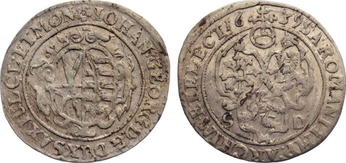 1/24 Taler 1639 SD Sachsen-Albertinische Linie Johann Georg I. 1615-1656. min. Schrötlingsfehler, sehr schön +
