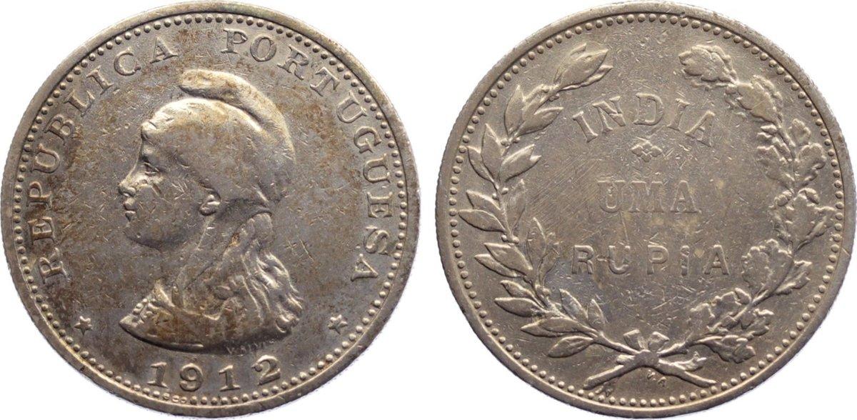 Rupie 1912 Portugiesisch Indien (Goa) Republik 1910-1961. selten, fast sehr schön