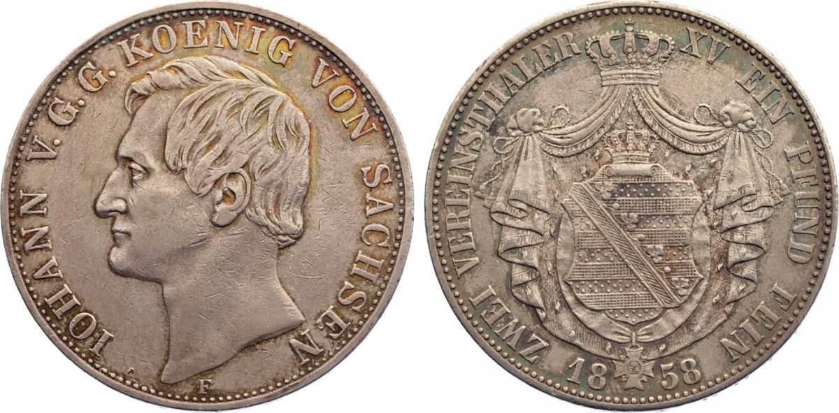 Doppeltaler 1858 F Sachsen-Albertinische Linie Johann 1854-1873. sehr schön +